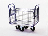 Mail platform trolley, mesh sides