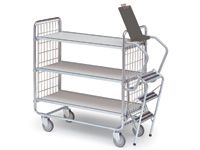 Light duty step trolley with 3 shelves 750 x 425