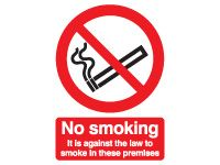 No Smoking in these premises Safety Signs - 210 x 148mm