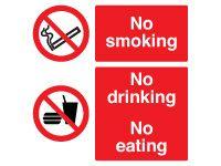 No Smoking, No Drinking, No Eating Signs - 300 x 300mm