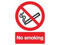 No Smoking Symbol & Text Signs - 400 x 300mm