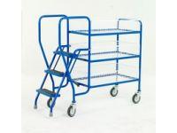 Order Picking Trolley, 3 steel trays, low model