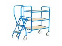 Order Picking Trolley with 3 ply trays, low model