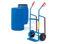 Fetra Plastic Drum Trolley, solid rubber tyres