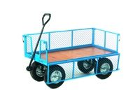 Platform Truck with Pneumatic Wheels - 4 Sided, Plywood Base