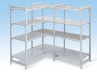 Polypropylene Extension Bays - 600mm D, 4 Grille Shelves