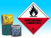 Roll of hazard diamonds-Spontaneously Combustible