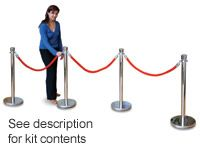 Rope barrier kit, 4 stainless steel posts + 3x 1m ropes