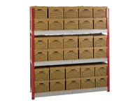 Shelving bay c/w 30 archive boxes