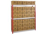 Shelving bay c/w 35 archive boxes