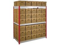 Shelving bay c/w 70 archive boxes
