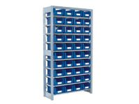Shelving extension bay with 10 shelves c/w 40 bins