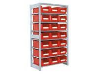 Shelving extension bay with 7 shelves c/w 28 bins