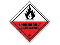 Spontaneously Combustible Hazard Diamond Signs