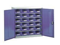 Steel storage cabinet, model 2 with blue bins