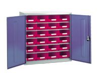 Steel storage cabinet, model 2 with red bins