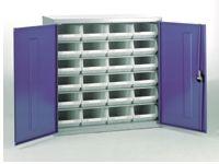 Steel storage cabinet, model 2 with white bins (1)