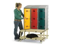 Strong Plastic Locker Stands with Bench Seating + Shoe Racks