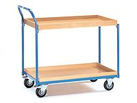 Fetra Table Top Cart 850x500mm, angled handle, 2 shelves