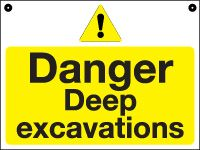 Temporary Danger Deep excavations sign