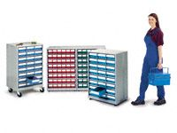 Treston High density storage cabinet, 48 red bins
