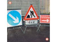 Folding 750mm Traffic Sign Road Narrows Nearside