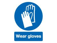 Wear Gloves Mandatory Safety Signs - 150 x 125mm