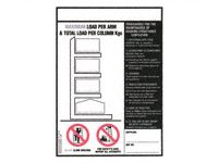 Weight load notice 356x254 for cantilever racking