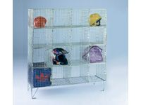 Wire Mesh Storage Lockers - 16 Compartment Open Front